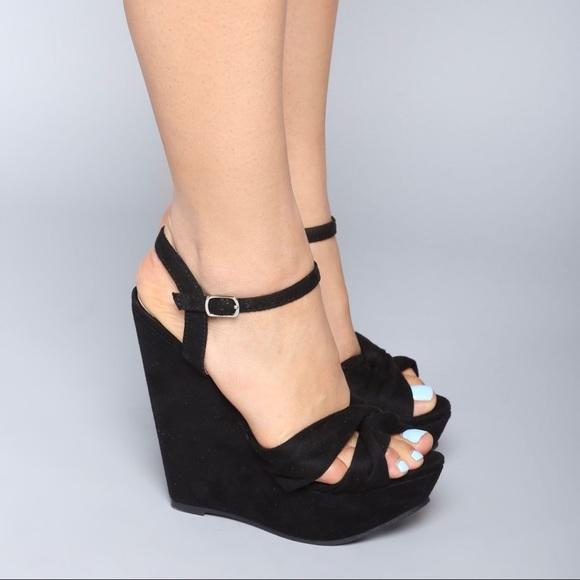 Black Wedge Heels With Strap